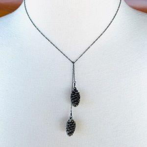 Jewelry - Custom oxidized silver pine cone wrap necklace